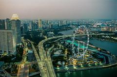 Singapore during twilight on film (Thanathip Moolvong) Tags: nikon f100 lomography 800 negative film singapore marina twilight