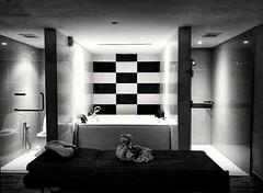 Massage room (-Faisal Aljunied - !!) Tags: faisalaljunied blackandwhite massage spa bed toilet bathtub penang malaysia