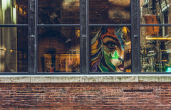 Double vision (Sarah Rausch) Tags: windowwednesday window urban reflection mural nashville sony kitlens 45 brick square art city alley street streetart double