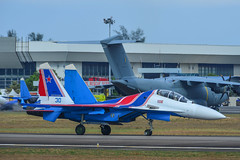 Russian Knights Su-30SM fighter jet (phuong.sg@gmail.com) Tags: force aerodrome aerobatics airplane army asia aircraft aviation air airshow airfield demonstrate fighter expo display group gear demonstration fuselage holiday lima jet machine knights malaysia langkawi lgk show sky speed plane power russia military parking russian russkie team view taxi wing sukhoi su30sm