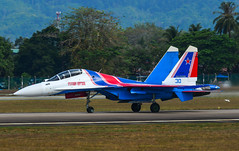 Russian Knights Su-30SM fighter jet (phuong.sg@gmail.com) Tags: force aerobatics aerodrome air aircraft airfield airplane airshow army asia aviation demonstrate demonstration display expo fighter fuselage gear group holiday jet knights langkawi lgk lima machine malaysia military parking plane power russia russian russkie show sky speed su30sm sukhoi taxi team view wing