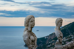 Statues from the belvedere, the so-called Terrazza dell'infinito, The Terrace of Infinity seen on the sunset, Villa Cimbrone, Ravello village, Amalfi coast of Italy (OLF Picture) Tags: statue statues villacimbrone belvedere terrazzadellinfinito terraceofinfinity seasunsetpanorama italy amalficoastitaly tyrrheniansea sunset ravellovillage town young lifestyle female rocks natural woman summer tourism vacation holiday beautiful coast ocean beach nature sea sculpture religion sky stone asia angel ancient art monument travel architecture china lion culture religious white god faith marble blue symbol