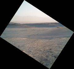 Straightened, Derotated Martian Image, variant (sjrankin) Tags: 21august2019 edited nasa mars msl curiosity galecrater sand mountains sky haze tracks wheeltracks 2463mh0003250050902359e01dxxx