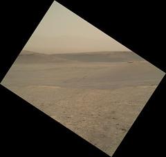 Straightened, Derotated Martian Image (sjrankin) Tags: 21august2019 edited nasa mars msl curiosity galecrater sand mountains sky haze tracks wheeltracks 2463mh0003250050902359e01dxxx