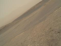 Derotated Martian Image (sjrankin) Tags: 21august2019 edited nasa mars msl curiosity galecrater sand mountains sky haze tracks wheeltracks 2463mh0003250050902359e01dxxx