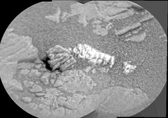 Lumpy, Light-Colored Rock, variant (sjrankin) Tags: 21august2019 edited nasa mars msl curiosity galecrater sand closeup rock segments panorama grayscale