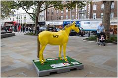Patience (Mabacam) Tags: 2019 london chelsea kensington worldhorsetrail worldhorsewelfare animalwelfare horse pony art artinstallation sculpture horsesculpture message story outdoors patience jamieosborne taxi yellowtaxi