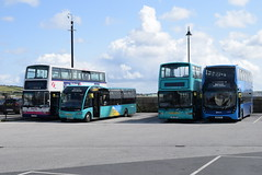 FK 33113, 53253, 32200@ Penzance bus station (ianjpoole) Tags: first kernow dennis trident plaxton president lt02nvx 33113 optare solo m995sr wk68bto 53253 volvo b7tl mig6219 32200 alexander enviro 400mmc wk18cfp 33302 penzance bus station