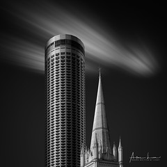 A Perfect Match (Alec Lux) Tags: bw bnw singapore standrews architecture art black blackandwhite building buildings cathedral church city cityscape curves design exterior facade fine fineart haida haidafilters hotel lines longexposure minimal minimalism modern outdoor outside shape skyline skyscraper stamford swissotel tower urban white