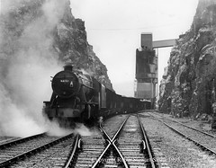 LMS 8F No 48151 heads a 973 ton load of Pre-World War II ICI Hoppers at Tunstead Quarry Great Rocks Works - FTP Charter 11th November 1995 (robinstewart.smith) Tags: lms 8f ici hoppers tunstead quarry ftp photographic charter 1995