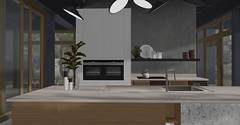 Jack Hanby Interiors; Client Miaa Rebane - Open plan living (Jack Hanby -) Tags: kitchen second life photo photography simple minimal clean fresh stylish simplicity stone finish quartz marble plant vase magnolia plates oriental client project living home styled decor decorate decoration decorating interiors