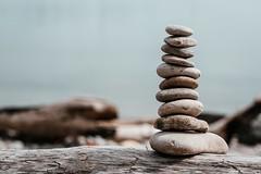 rock-stack-on-log-by-water (1) (University of Bath) Tags: rocks log balance pebble
