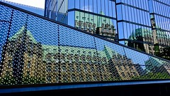Different perspectives (joanne clifford) Tags: hww architecture glass green blue wellingtonst currencymuseum bankofcanada parliamenthill ottawa parliamentaryprecinct parliament mirrored reflections windows windowwednesday