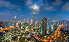 Reaching The Clouds (DanielKHC) Tags: dubai uae burjkhalifa clouds bluehour skyscrapers panorama nikon d850 nikkor19mmtiltshift city cityscape