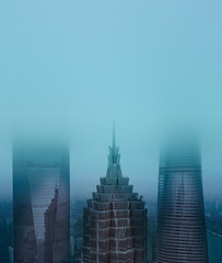The Three Sisters in Fog (Trey Ratcliff) Tags: treyratcliff stuckincustoms stuckincustomscom shanghai china skyscraper tower three sisters fog mist cloud