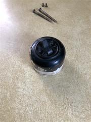 Old Knob and Tube Light Switch - Removed (oxfordblues84) Tags: kitchen renovation kitchenrenovation house home knobandtubelightswitch knobandtubeswitch screws countertop