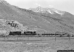 Goshen Valley Voyage (jamesbelmont) Tags: monochrome caboose locomotive railway railroad train warmsprings genola goshenvalley utah wasatch nebo gp9 emd drgw riogrande