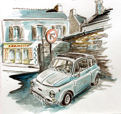 Fiat bretonne (dominiquerichard) Tags: dessin aquarelle voiture