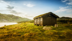 old cabin (bjorns_photography) Tags: landscape cabin old tree mountain clouds water outdoor light sunlight