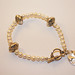 Precious metal clay charm and pearls bracelet