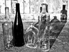 4 But Different (Robert Cowlishaw (Mertonian)) Tags: shadows brick cement concrete glass bottles mertonian robertcowlishaw canon powershot g1x mark iii canonpowershotg1xmarkiii four 4 dusk evening blackandwhite bw backyardphotolab bypl