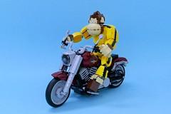Master Gor & His Harley Davidson Fat Boy. (vincentkiew) Tags: bike ride lego martialart harleydavidson hd fatboy artofbrick motorbike motorcycle