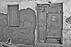 light blue (Love me tender ♪¸.•*´¨´¨*•.♪¸.•*´) Tags: door windows abandoned decay old wood poros island greece saronic two blackandwhite wall