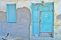 light blue (Love me tender ♪¸.•*´¨´¨*•.♪¸.•*´) Tags: door windows abandoned decay old wood poros island greece saronic two blue wall