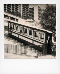 Angels Flight 3 (tobysx70) Tags: the impossible project tip polaroid bw blackandwhite expired instant film for sx70 type cameras impossaroid angels flight hill street downtown los angeles la ca funicular carriage shortest railway in world 298 feet 1901 bunker toby hancock photography