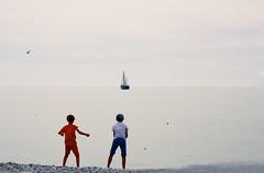 The world is fine, by the ocean.. (erlingraahede) Tags: haze kodakektar100 canon vsco children people melancholic poetic ocean summer