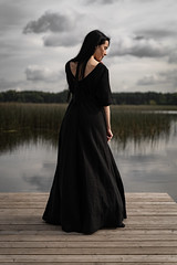 Dreamy (Freeclob) Tags: mystical dreamy clouds reflection lake dress latvia riga blackdress