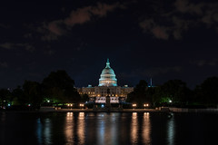 Capitol and Reflecting Pool. (edwarddwood) Tags: washington dc night monuments sony a7r3 lights national mall building architecture capitol reflecting pool reflection capitolhill rotunda