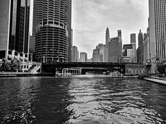 River (ancientlives) Tags: chicago chicagoriver chicagoparks illinois il usa travel trips walking downtown loop buildings architecture towers skyline skyscrapers sky city cityscape marinacity cloud warm humid weather blackandwhite bw mono monochrome wednesday august 2019 summer