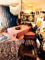 Bedroom Dreams (Steve Taylor (Photography)) Tags: digitalart uk gb england greatbritain unitedkingdom london texture 25brookstreet apartment canopy furniture guitar jimihendrix mayfair pillows rug chair bedroom
