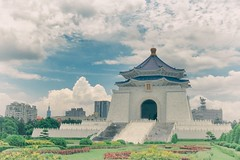 Chiang Kai-shek Memorial With Clouds, Taipei 101, Funny Little Trees, etc. All In A Single Serving Postcard Photo (alex in bkny) Tags: chiang kaishek memorial taiwan taipei travel postcard color iso100 16mm f16 110sec taipei101