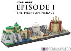 "Lego Star Wars - ""The Phantom Menace"" Skyline MOC (BenBuildsLego) Tags: phantom menace jedi george lucas movies lego legos bricks micro skyline architecture benbuildslego prequel prequels microscale darth maul tatooine temple palace watefall cool design"