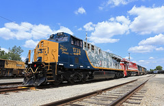 The specials in GR (GLC 392) Tags: 1776 spirit our armed forces camo csx 911 fire fighter unit locomotive es44ah gevo ge grand rapids mi michigan special paint first responders emergency medical services pride dpet department protect serve clouds sky wyoming yard emd sd402 8060 8836