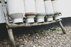 Row of old milk cans (wuestenigel) Tags: bottles cow storage cans farm milk row old noperson keineperson alt abandoned verlassen wood holz nature natur dirty schmutzig outdoors drausen street strase rusty rostig trash müll empty leeren waste abfall family familie bench bank broken gebrochen steel stehlen summer sommer architecture diearchitektur vintage jahrgang worn getragen 2019 2020 2021 2022 2023 2024 2025 2026 2027 2028 2029 2030