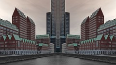 Modern times (Rob Oo) Tags: architecture ccby40 holland nederland rotterdam spoorweghaven thenetherlands ro016b moderntimes gimp urban reflection symmetry