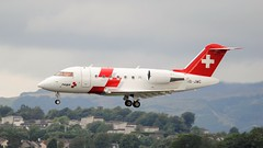 HB-JWC CHALLENGER 650 (douglasbuick) Tags: glasgow airport egpf hbjwc challenger650 swissairambulance aircraft nikond300 sigmalens flying scotland landing flickr aviation flight
