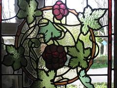 "Detail of an Art Nouveau Stained Glass Window in the Entrance Hall of ""The Gables"" Queen Anne Villa - Finch Street, East Malvern (raaen99) Tags: thegables housename queenannehouse federationhouse queenannefederationhouse gascoigneestate stainedglass stainedglasswindow stainedglasswindows artnouveaustainedglass artnouveaustainedglasswindow baywindow finchstreet finchst queenannestyle queenanne federation window edwardian edwardiana melbourne victoria australia domesticarchitecture house home architecture melbournearchitecture housing 20thcentury twentiethcentury artnouveau nouveau 1900s 1902 malvern eastmalvern artsandcrafts artsandcraftsmovement artscraftsmovement artscrafts architecturallydesigned beverleyussher henrykemp ussherandkemp ussherkemp lawrencealfredbirchnell lawrencebirchnell detail interior room entrance entrancehall hall foyer fruit leaves rose berry plum chrysanthemum daisy grapes grape pears pear vine purple pink yellow green red flowers floral flora"