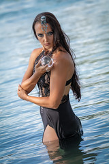 Magic of Water (R. Jenischte) Tags: cosplay girl young clothes shirt beautiful sporty fashion glamour canon sun nice canoneos80d black blue white dress forest wald headpiece kopfschmuck water lake switzerland marble glass