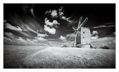 Ashcombe Mill / August 21st (Edd Allen) Tags: landscape country countryside clouds infrared blackandwhite bw monochrome foliage eastsussex uk southeast england greatbritain nikond610 nikon d610 zeissdistagon18mm serene bucolic ashcombemill architecture windmill farm farmland
