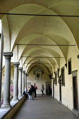 San Lorenzo Basilica and Cloister, Florence, Italy (SpirosK photography) Tags: sanlorenzobasilica basilica church florence firenze italy italia ιταλία φλωρεντία nikon travel travellog travelling worship interior sanlorenzocloister monastery corridor path arc arch paintings art