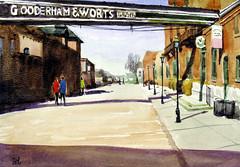 A Street in Distillery Area 3, 2019-08-21 (light and shadow by pen) Tags: watercolorlandscapetorontodistilleryarea art