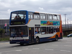 Stagecoach TransBus Trident (TransBus President) 18043 MX53 FMJ (Alex S. Transport Photography) Tags: bus outdoor road vehicle stagecoach stagecoacheastmidlands dennistrident trident route9 transbustrident plaxtonpresident transbuspresident 18043 mx53fmj