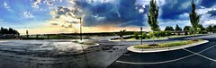 2019 233/365 8/21/2019 WEDNESDAY - The nightly storms (_BuBBy_) Tags: nightly storms one long ass bus panorama artifact panoramic 2019 233365 8212019 wednesday weds wed we w 233 365 365days project project365 august clouds rain sun sunset evening sky horizon helicopter traffic rush hour car cars trees parking lot pavement wet dry drying lines spot spots street light lights aircraft beacon tree road divided roadway parkway boulevard intersection fence fencing retaining wall median strip green blue red black white orange