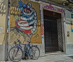 Streetart (@acastellonm) Tags: porto oporto city ciudad portugal calle street art bicicleta bici bicycle graffiti door puerta