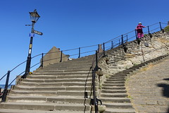 199 Steps at Whitby (Tony Worrall) Tags: yorkshire yorks scene scenery northyorkshire resort yorkshirephotos east eastern seasidetown holidays tourists coast photographsofwhitby whitbyphotos whitby north update place location uk england visit area attraction open stream tour country item greatbritain britain english british gb capture buy stock sell sale outside outdoors caught photo shoot shot picture captured ilobsterit instragram famous steps climb many ramp rail stone bluesky curve abbey 199steps