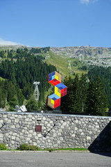 """Les Trois Hexagones"" @ Statue by Victor Vasarely @ Flaine Forum @ Resort @ Flaine @ Hike to Désert de Platé (*_*) Tags: 2019 summer ete august afternoon hiking europe france hautesavoie 74 savoie loop circuit mountain montagne nature randonnee trail sentier walk marche giffre désertdeplaté flaine skiresort stationdeski art sculpture statue faucigny"